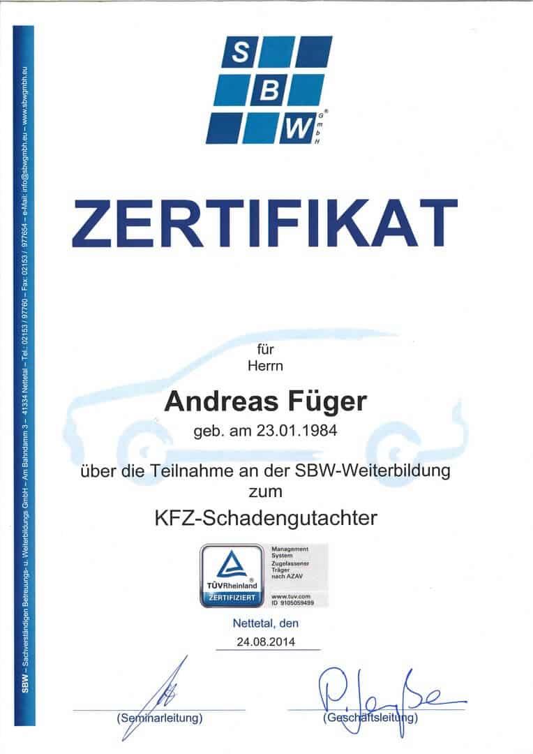 SBW-Teilnahme-KFZ-Schadengutachter