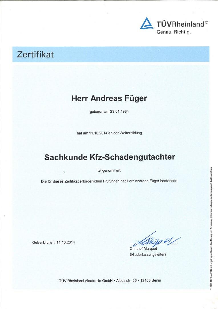 Sachkundenachweis_KFZ-Schadengutachter_TÜV-Rheinland